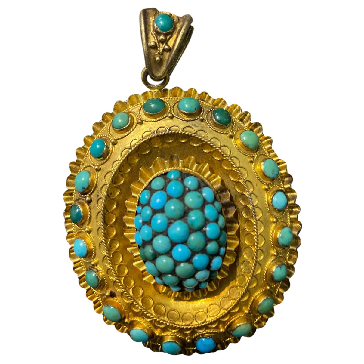 Non Signé / Unsigned Turquoises Green Yellow gold pendant for Women N