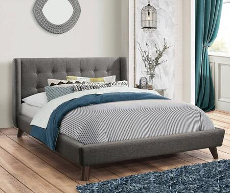Carrington Collection 301061KE King Size Bed with Woven Fabric Upholstery  Button Tufted Headboard and Low Profile Design in