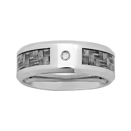 Personalized Mens Diamond-Accent 8mm Stainless Steel Wedding Band, 8 1/2 , No Color Family