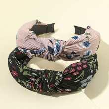 2 Stuecke Haarband mit Blumen Muster und Knoten Dekor