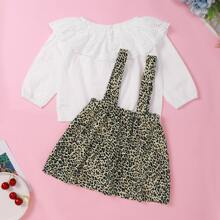 Baby Girl Contrast Schiffy Blouse With Leopard Suspender Skirt
