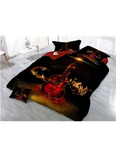Red Guitar and Beat Notes 4-Piece 3D Black Bedding Sets/Duvet Covers