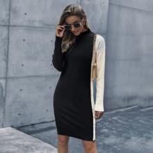 Colorblock Pearl Button Bodycon Sweater Dress