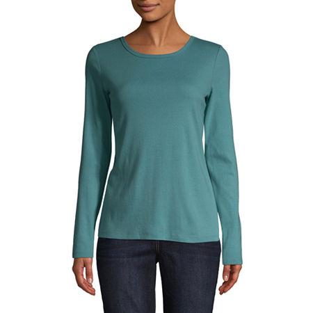 St. John's Bay-Womens Long Sleeve T-Shirt, Petite Medium , Blue