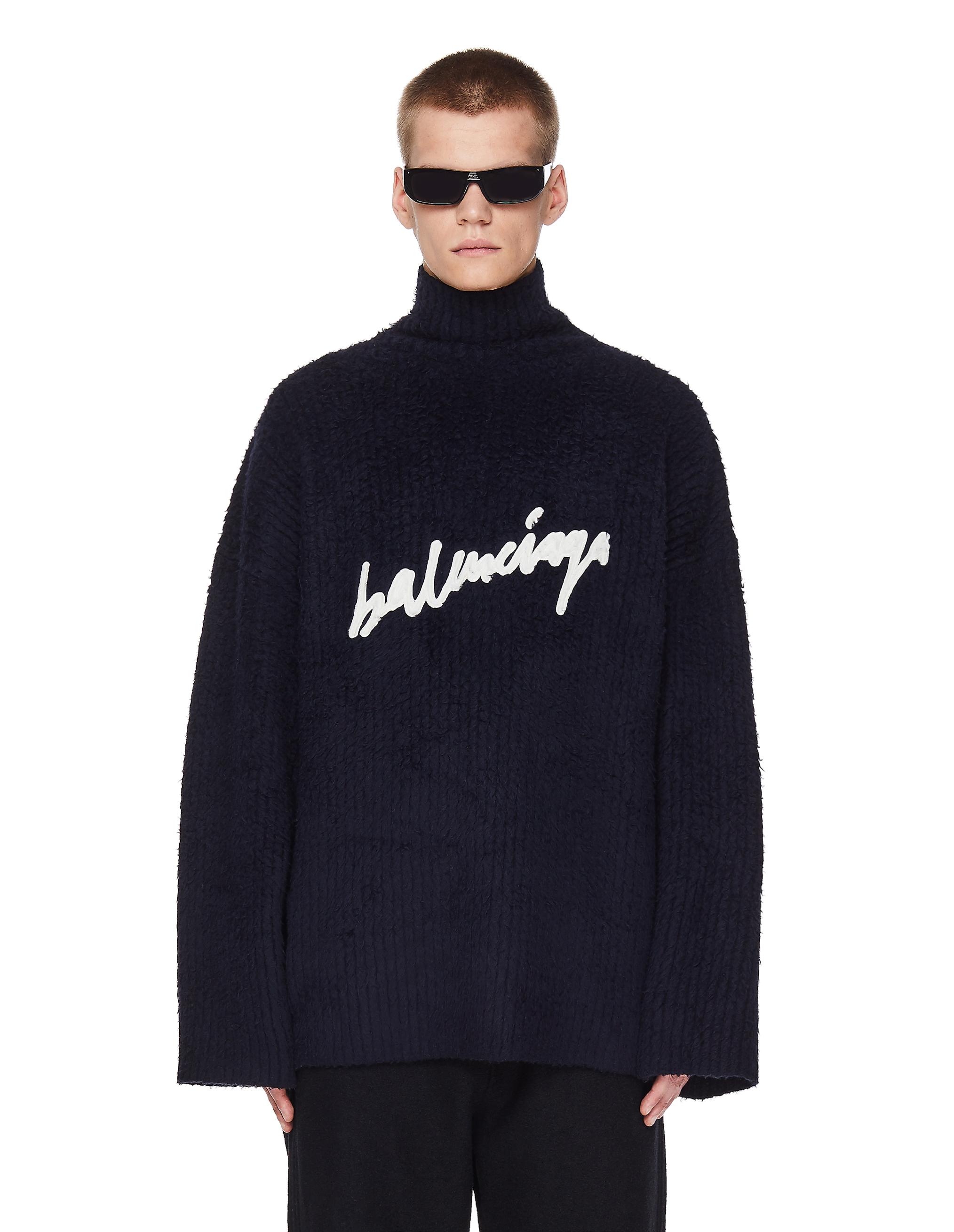 Balenciaga Navy Blue Scribble Logo Sweater