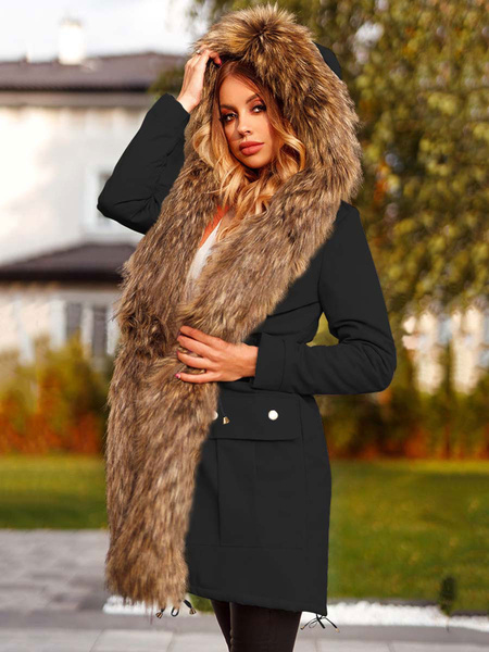 Milanoo Woman\s Maxi Coat Black Hooded Long Sleeves Pockets Casual Winter Outerwear