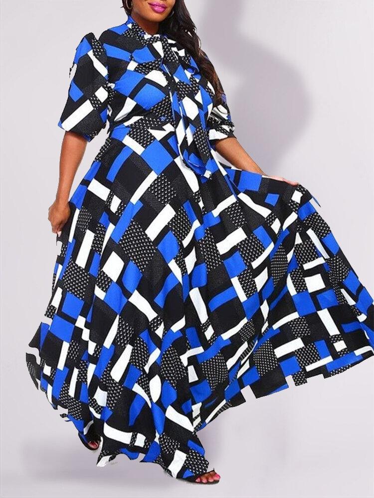Geometric Print Loose A-line Knot Plus Size Dress