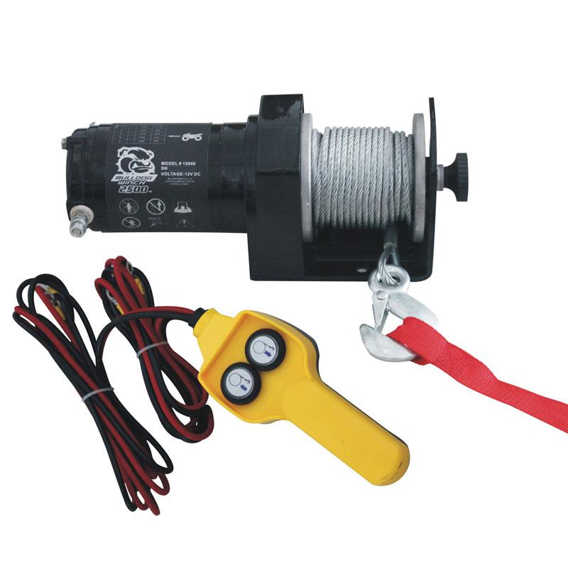 Bulldog Winch 15008 2,500 LB ATV Winch 50 Ft Synthetic Rope W/Mini Rocker Switch Mounting Channel Roller Fairlead