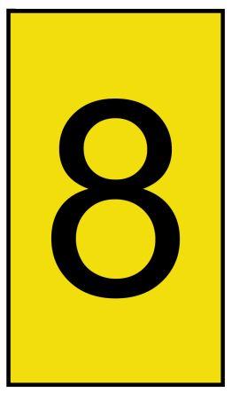 HellermannTyton Ovalgrip Slide On Cable Marker, Pre-printed 8 Black on Yellow 1.7 → 3.6mm Dia. Range