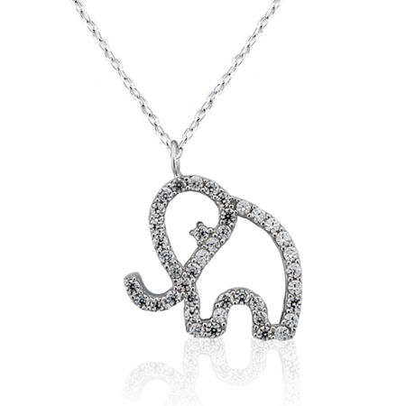 DiamonArt Womens Lab Created White Cubic Zirconia Sterling Silver Pendant Necklace, One Size , No Color Family