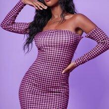 Schulterfreies Kleid mit Hahnentritt Muster
