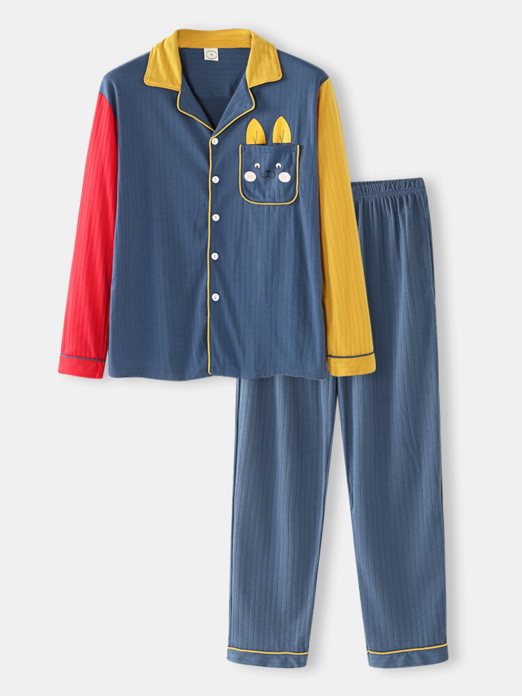 Cotton Contrast Patchwork Sleeve Loungewear Sets Comfy Shirts Design With Cute Rabbit Pockets