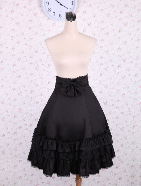 Milanoo Elegant Negro Alta Cintura Lolita Falda Volantes Lazo y Encaje