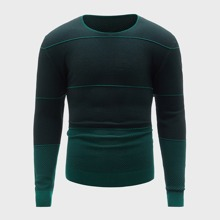 Guys Contrast Panel Round Neck Sweater
