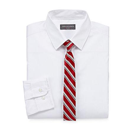 Van Heusen Little & Big Boys Point Collar Long Sleeve Shirt + Tie Set, Small (8) , White