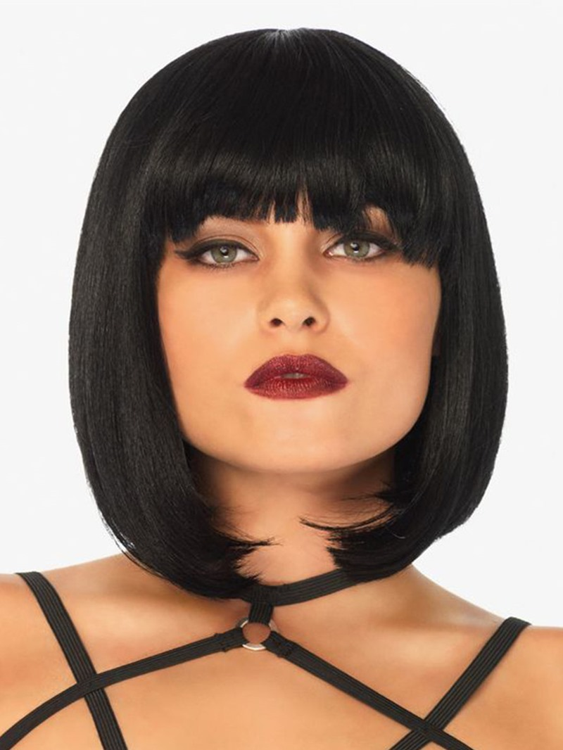 Ericdress Women's Short Bob Hairstyle Straight Human Hair Wig With Bangs Capless Wigs 10Inch