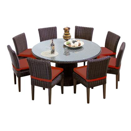 VENICE-60-KIT-8C-TERRACOTTA Venice 60 Inch Outdoor Patio Dining Table with 8 Armless Chairs with 2 Covers: Wheat and