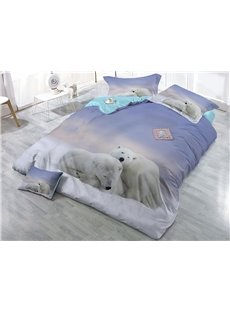Polar Bears Close Together Wear-resistant Breathable High Quality 60s Cotton 4-Piece 3D Bedding Sets