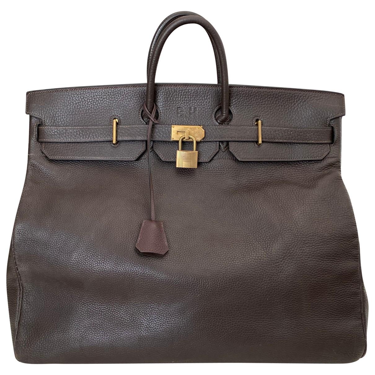 Hermes Haut a Courroies Handtasche in  Braun Leder