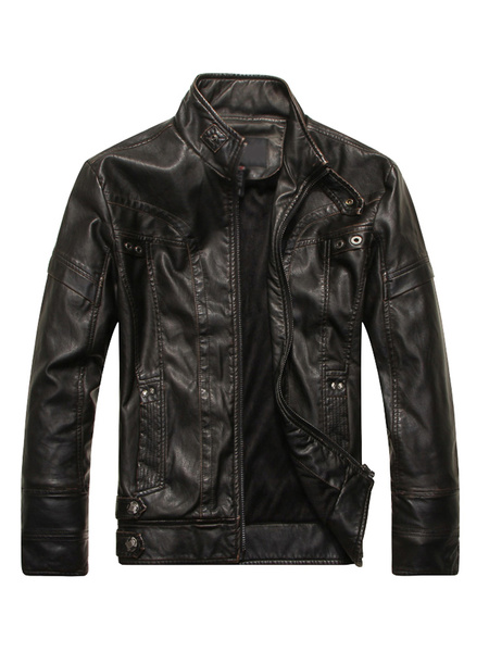 Milanoo Men Leather Jacket Spring Jacket Stand Collar Long Sleeve Zip Up Motorcycle Jacket