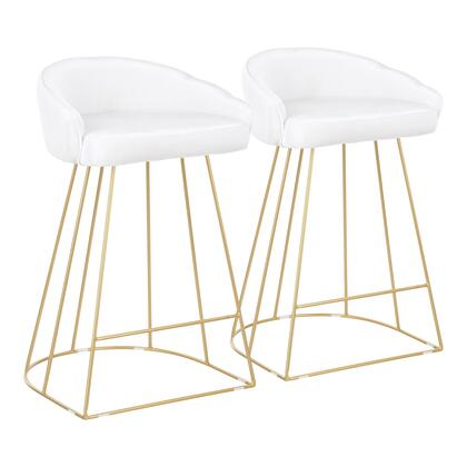 B26-CNRYUP AUVW2 Canary Contemporary Counter Stool in Gold with White Velvet Fabric- Set of