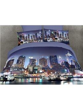 Cotton Reactive Printing City Design Modern 4 Piece Bedding Sets