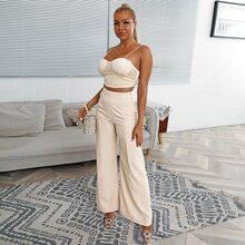 Ruched Bust Cami Top & Wide Leg Pants Set