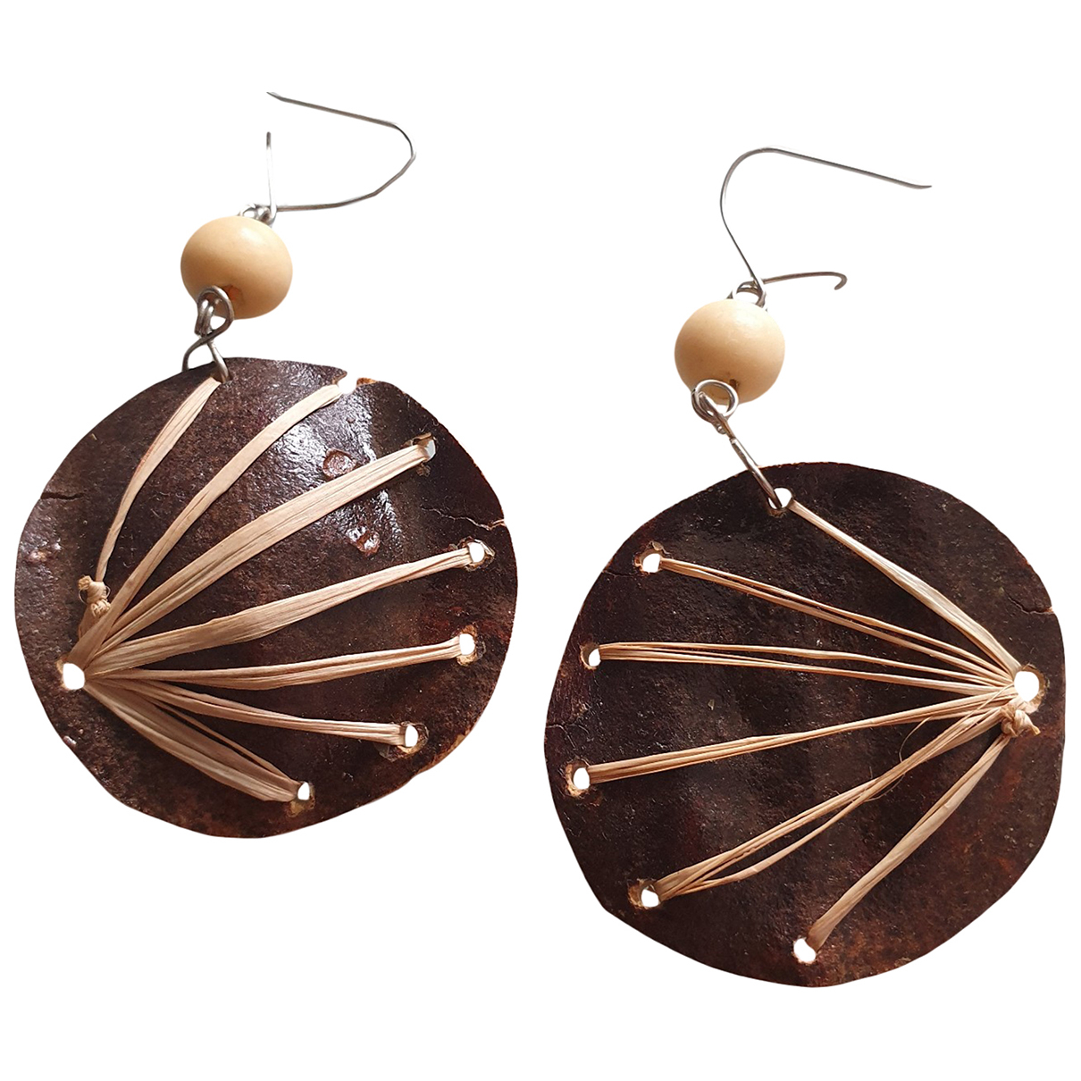 Non Signé / Unsigned Motifs Ethniques Brown Wood Earrings for Women \N
