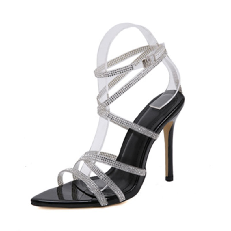 Ericdress Buckle Stiletto Heel Open Toe Rhinestone Sandals