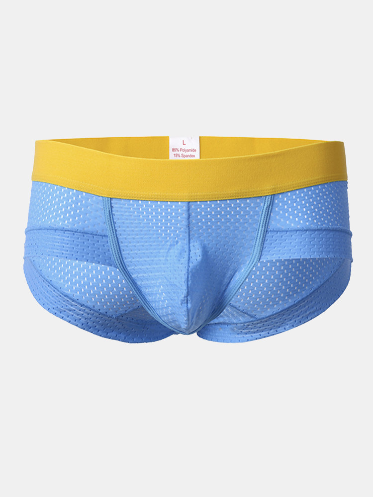Sexy Ice Silk Mesh Breathable U Convex Pouch Low Waist Briefs for Men