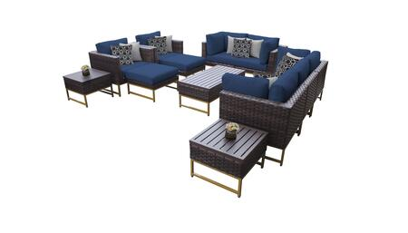 Barcelona BARCELONA-12h-GLD-NAVY 12-Piece Patio Set 12h with 4 Corner Chairs  2 Club Chairs  1 Armless Chair  1 Coffee Table  2 Ottomans  2 End