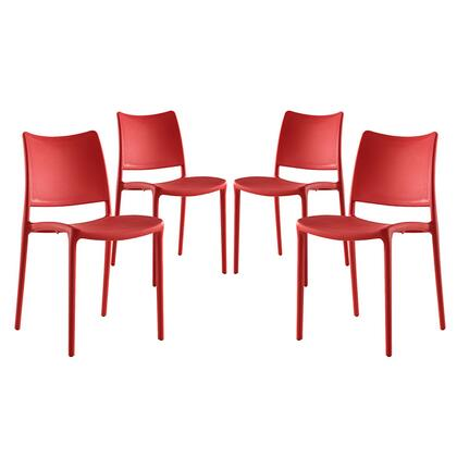 Hipster Collection EEI-2425-RED-SET Set of 4 Dining Side Chairs with Contoured Seat/Backrest  Indoor/Outdoor Use  Non-Marking Plastic Foot Glides and