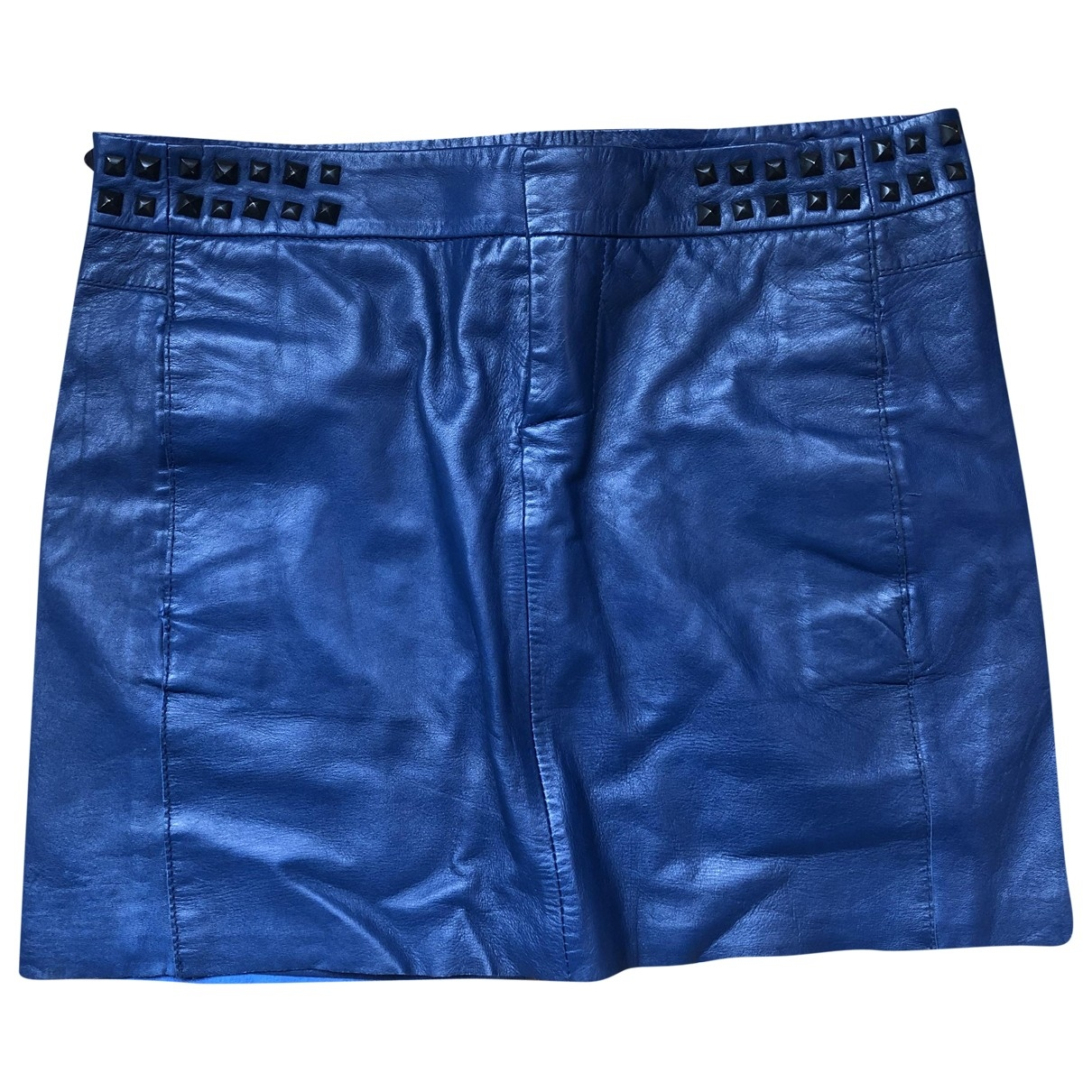Maje \N Blue Leather skirt for Women 36 FR