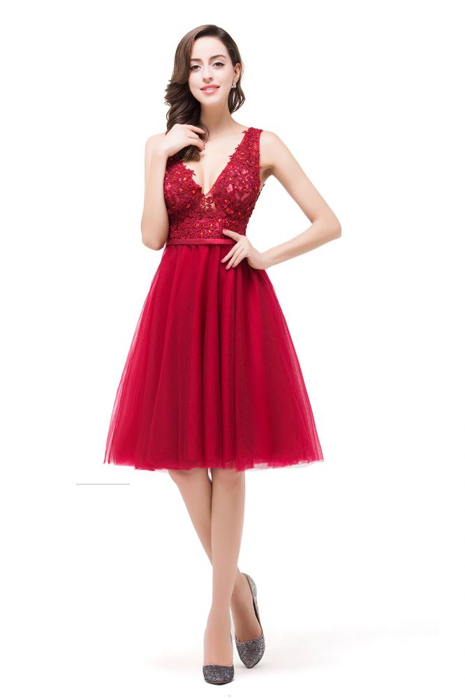 EVIE | A-Line Deep V-Neck Sleeveless Short Prom Dresses with Appliques