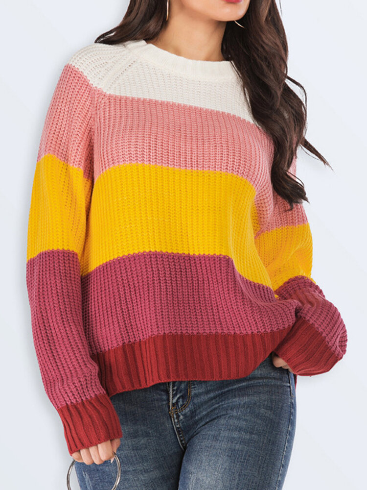 Casual Striped O-neck Contrast Color Knitwear Sweater