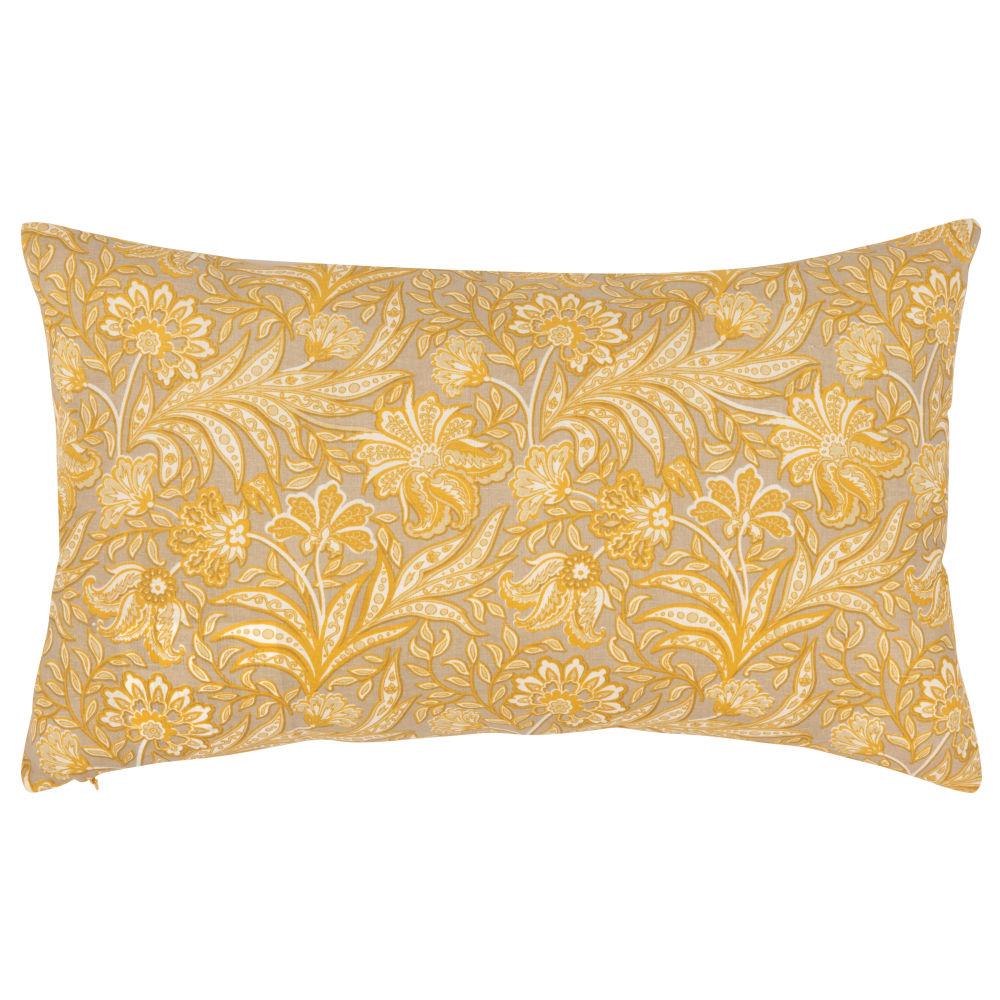 Kissenbezug aus Baumwolle mit Blumenmuster, gelb, 30x50