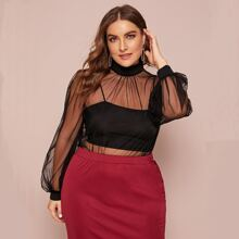 Plus Mock-Neck Balloon Sleeve Mesh Top Without Camisole