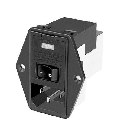 TE Connectivity ,6A,120 V ac, 250 V ac Male Flange Mount IEC Filter 2 Pole 1-6609104-4,Spade 2 Fuse