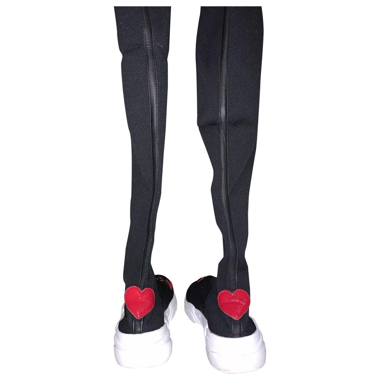Moschino Love - Baskets   pour femme en toile - noir