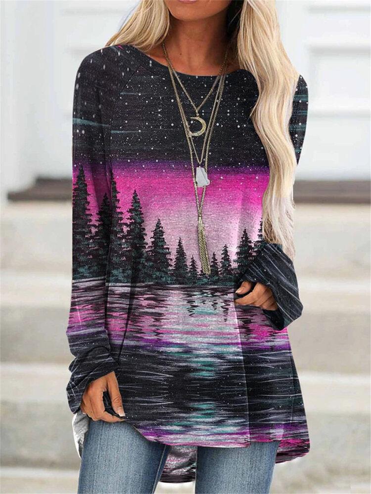 Landscape Print Crew Neck Long Sleeve Blouse For Women