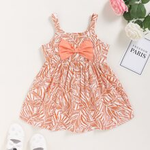 Baby Girl Bow Front Leaf Print Cami Dress