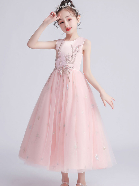 Milanoo Flower Girl Dresses Jewel Neck Tulle Sleeveless Ankle-Length Princess Kids Party Dresses