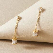 1 par pendientes largos grabados con diamante de imitacion