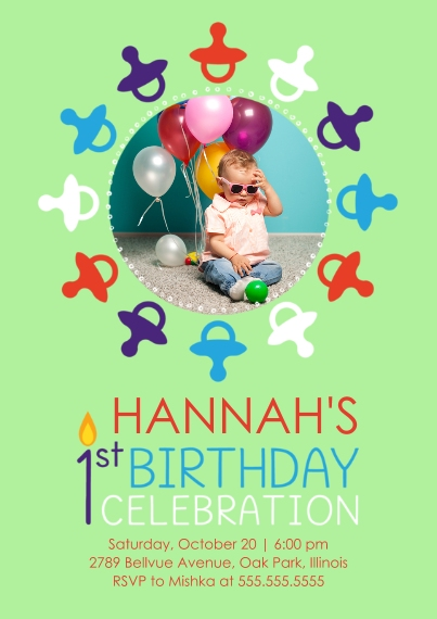 1st Birthday Invitations 5x7 Cards, Premium Cardstock 120lb with Scalloped Corners, Card & Stationery -1st Birthday Pacifiers - Girl