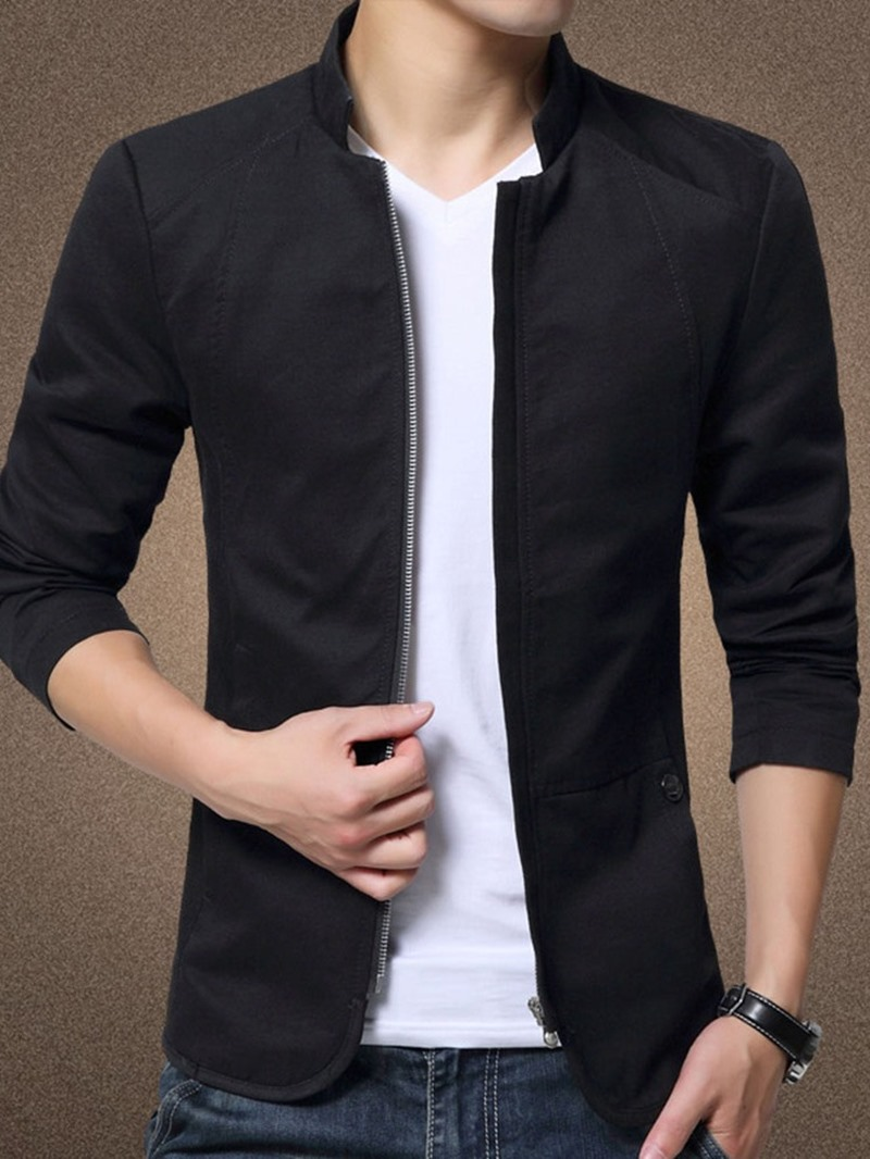 Ericdress Plain Zipper Thick Style Men's Jacket