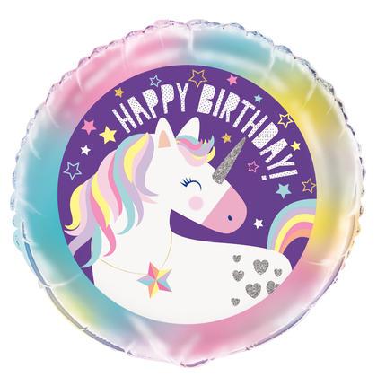 Unicorn Round Foil Balloon 18