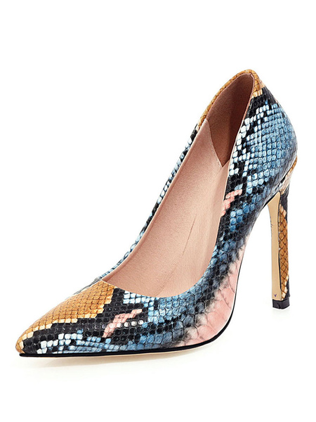 Milanoo Womens High Heels Pointed Toe Snake Print Plus Size Pumps