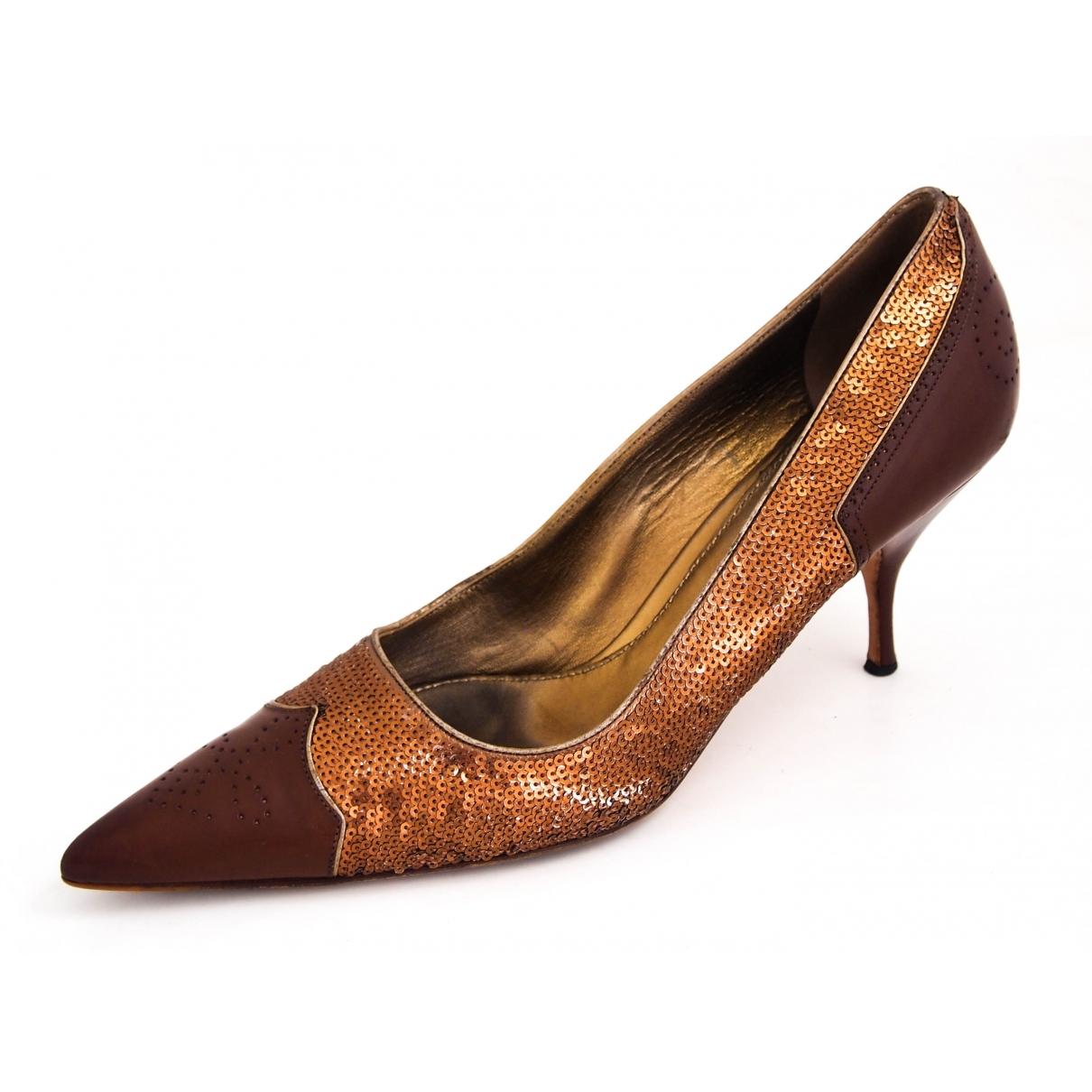 Prada - Escarpins   pour femme en a paillettes - marron