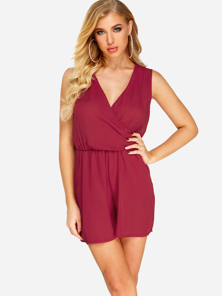 Yoins Red Crossed Front Design V-neck Stretch Waistband Playsuit