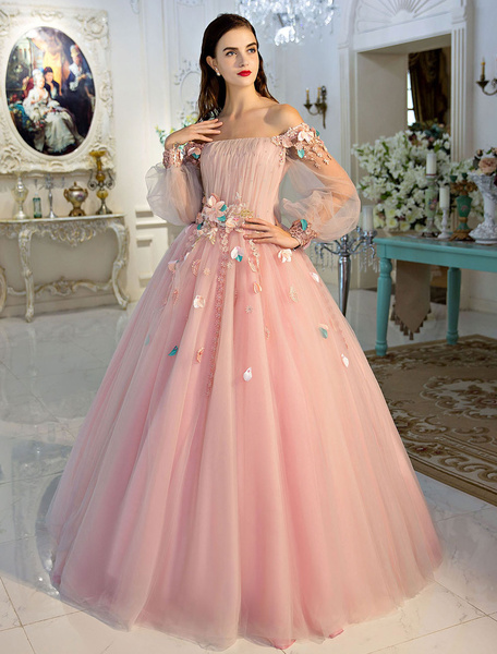 Milanoo Princess Pageant Dresses Luxury Off The Shoulder Soft Pink Lace Flowers Rhinestones Beaded Tulle Floor Length Women's Pageant Dress